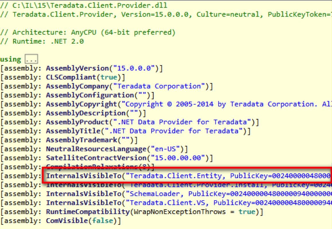 图 Teradata.Client.Provider.dll 指定的友元程序集是强命名的 Teradata.Client.Entity.dll
